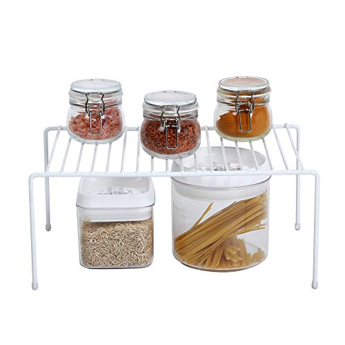 Smart Design Kitchen Storage Shelf Rack w/ Scratch Resistant Feet - Medium - Steel - Rust Resistant Finish - for Cups, Dishes, Cabinet & Pantry Organization - Kitchen (13.25 x 6 Inch) [White]