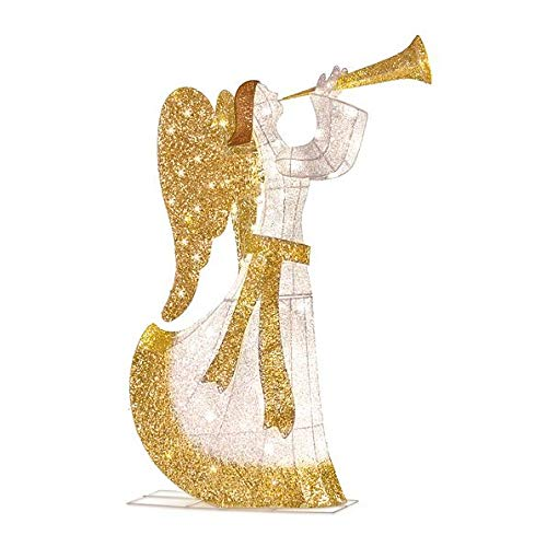 Outdoor Lighted Christmas Angel With Trumpet in US - 6