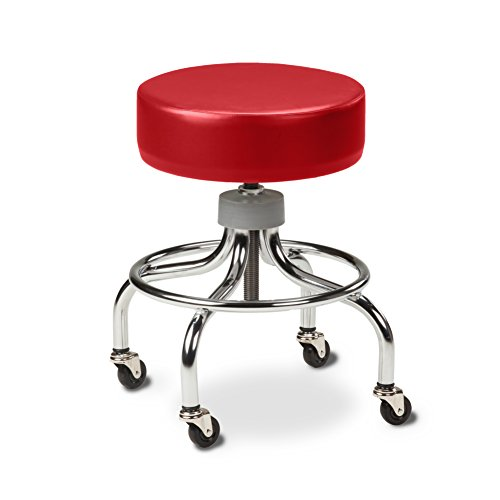 Clinton Chrome Base Stool with round foot ring-Tomato