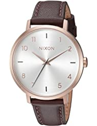 Nixon Womens Arrow Quartz Metal and Leather Watch, Color:Brown (Model: A10912369-00)