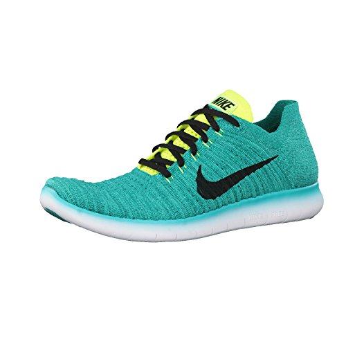 Nike Mens Free Rn Flyknit 2017 Scarpa Da Corsa Clear Jade / Black-volt-rio Verde Acqua