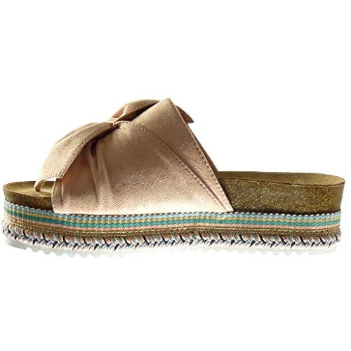 Angkorly - damen Schuhe Sandalen - Plateauschuhe - Slip-On - fliege - Geflochten Keilabsatz high heel 5 CM - Rosa