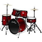 Ashthorpe 5-Piece Complete Full Size Adult Drum Set with Remo Batter Heads - Red