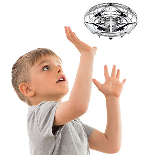 Hand Operated Drones for Kids or Adults - Scoot Hands Free Mini Drone Helicopter, Easy Indoor Small Orb Flying Ball Drone Toys for Boys or Girls (Silver) -