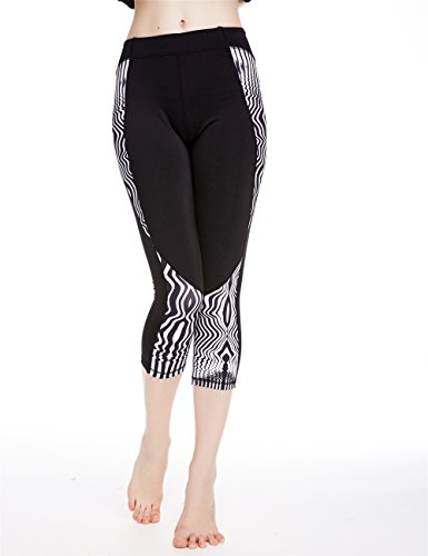 icyzone Women's Printed Active Workout Capri Leggings Fitted Stretch Tights (M, ZEBRA-STRIPE)