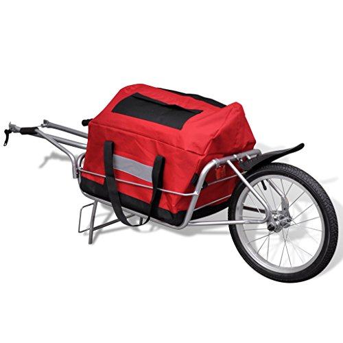 Festnight One-wheel Bicycle Cargo Trailer Steel Frame with Storage Bag by Festnight