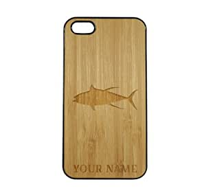 SudysAccessories Personalized Customized Custom Tuna On Wood Engraved Black iPhone 5 Case - For iPhone 5 5S - Designer Real Bamboo Back Case Verizon AT&T Sprint(Send us an Amazon email after purchase with your choice of NAME)