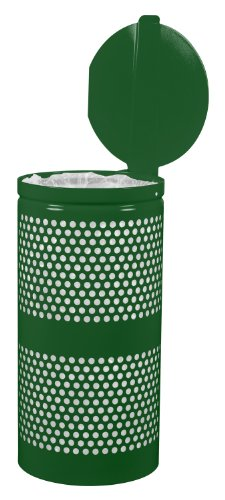 Hunter Green Receptacle Lid - Ex-Cell Kaiser WR-10R-CVR HGR Landscape Series Steel Perforated Trash Receptacle with Cover, 10 Gallon Capacity, 11-1/2