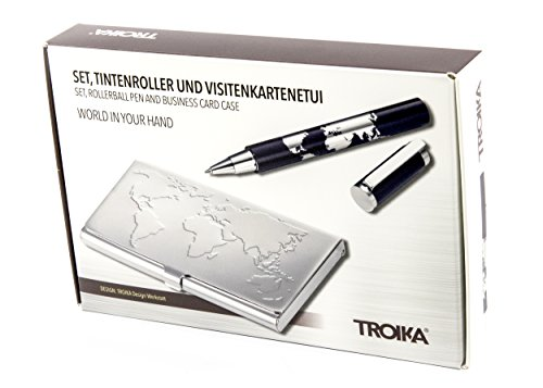 TROIKA WORLD IN YOUR HAND – PEN10CDC/DB – Set of rollerball pen and business card case – black TROIKA 5888 refill (Made in Germany) – holds 17 cards – TROIKA-original by Troika (Image #4)
