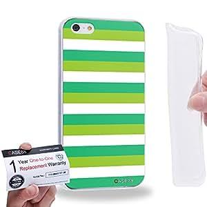 Case88 [Apple iPhone 5 / 5s] Gel TPU Carcasa/Funda & Tarjeta de garantía - Art Design Stripe St Patrick 2090