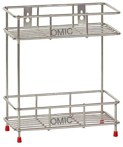 Adbucks Mirror Finish Stainless Steel Wall Mounted Multipurpose Storage Shelf, Double(2-Tier), Silver