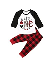 Babys First Birthday Outfits Long Sleeve T-Shirt Top Buffalo Plaid Pant