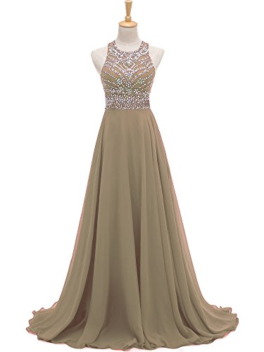 Chiffon Bridesmaid Long Khaki Prom Women's Evening Beaded Solovedress Dress Line Dress A qwApawtx7