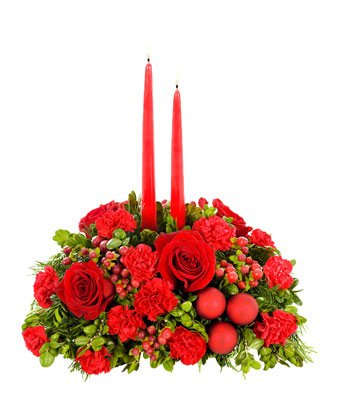 Christmas Flowers - Merry and Bright Christmas Centerpiece by christmas flowers