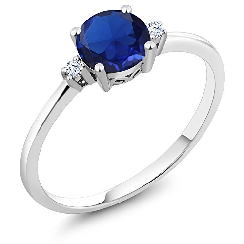 10K White Gold 3 Stone Ring Round Blue