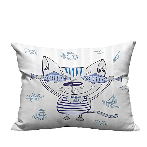 YouXianHome Lovely Cushion Covers Naughty Cat with Fish in Striped Shirt Anchor Pendant and Nautical Sign Resists Stains(Double-Sided Printing) 13.5x19 inch