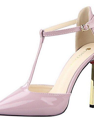 GGX/ Damen-High Heels-Party & Festivität / Kleid-PU-Stöckelabsatz-Absätze / T-Riemen / Komfort / Spitzschuh-Schwarz / Lila / Rot / Weiß / Grau purple-us7.5 / eu38 / uk5.5 / cn38