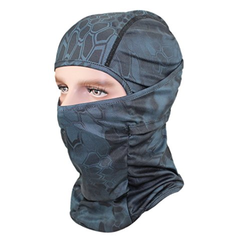 GANWAY Men Cap Tactic CS Equipment Cycling Mask Camouflage Headgear Ventilation Sunscreen Hat Ski balaclava Face Masks (black)