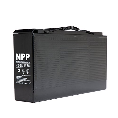NPP 12V 150 Amp FT12 150Ah Front Access Telecom Deep Cycle AGM Battery With Button Style Terminals by NPP