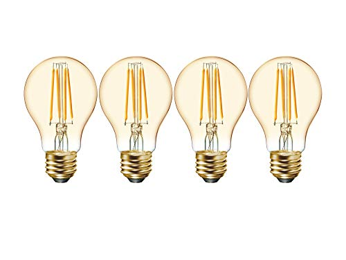 GE Lighting 33523 Amber Glass Light Bulb Dimmable LED Vintage Style A19 6 (60-Watt Replacement), 560-Lumen Medium Base, 4-Pack, Warm Candle
