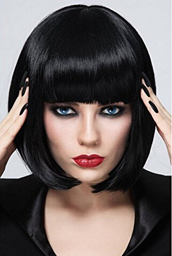 (Short Bob Wigs Black Wig for Women with Bangs Straight Synthetic Wig Natural As Real Hair 12'')