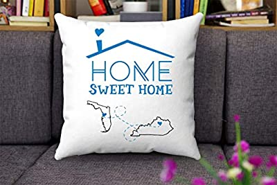 "Map Throw Pillow Covers Florida Kentucky - Home Sweet Home FL KY - Custom House Warming Gift For Mom, Dad, Family - Decorative Home Throw Pillow Covers 18""x18"""