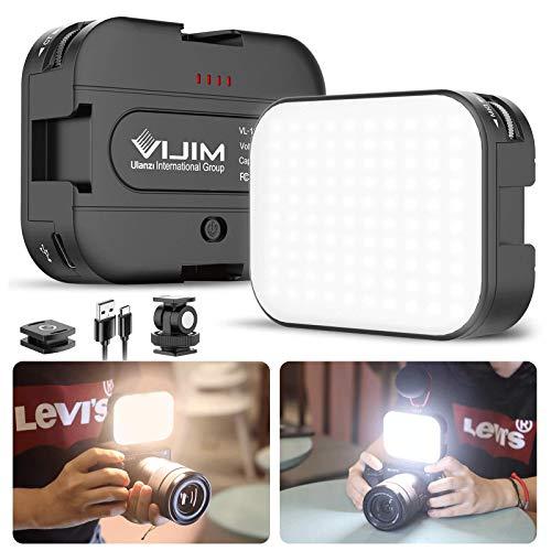 VIJIM VL100C Bi-Color LED Video Light on Camera with Adjustable Stand, Mini Rechargeable 2000mAh LED Camera Lights,CRI95…