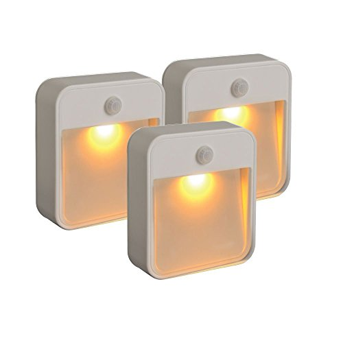 Mr. Beams MB720A Sleep Friendly Battery-Powered Motion-Sensing LED Stick-Anywhere Nightlight with Amber Color Light (3-Pack), White