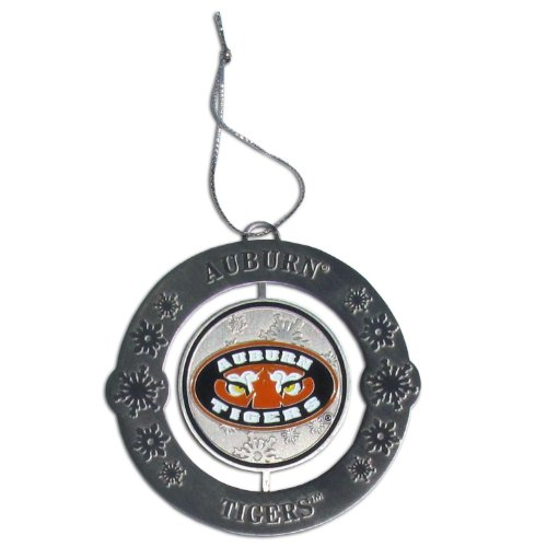 NCAA Metal Engraved Two Sided Spinner Christmas Tree Ornaments (Auburn Tigers)