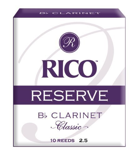 Rico Reserve Classic Bb Clarinet Reeds, Strength 2.5, 10-pack