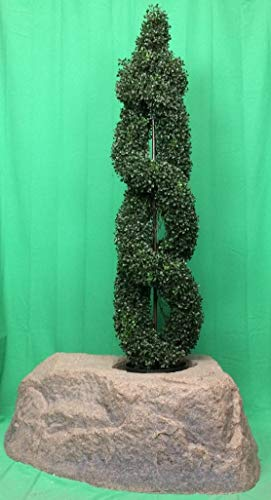 Artificial-UV-Rated-Outdoor-5-Double-Spiral-Boxwood-Topiary-Tree-Bundled-with-Rock-Planter-Cover-by-Silk-Tree-Warehouse