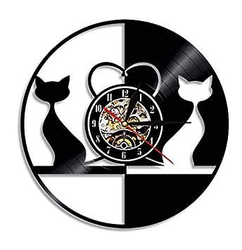 Yanshu Reloj de Pared de Vinilo 1 Pieza Diseño Vintage Amor Gatos Reloj de Pared Animales Disco de Vinilo Reloj Couplea Gatos Gatito Decoración del Hogar 12 ...
