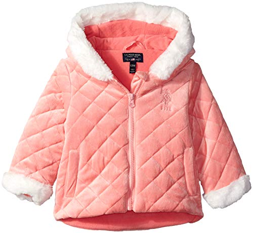 U.S. Polo Assn Baby Girls' Quilted Terry Fleece Jacket, Coral, 12M