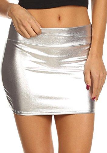 Mini Light Silver (Sakkas 8255 - Kaie Women's Shiny Metallic Liquid Wet Look Mini Skirt - Silver - L)