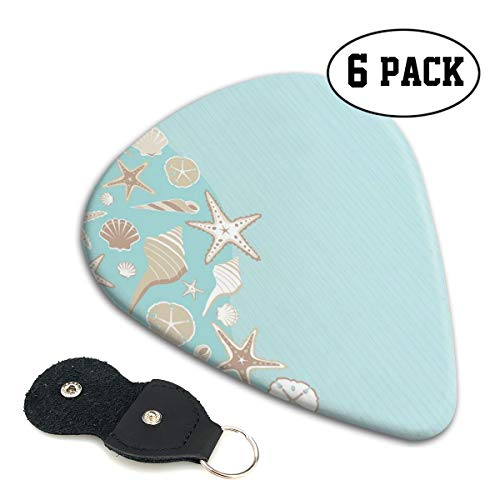 Guitar Picks 6 pcs,Thin Lines And Various Creative Seashells Beach Party Theme