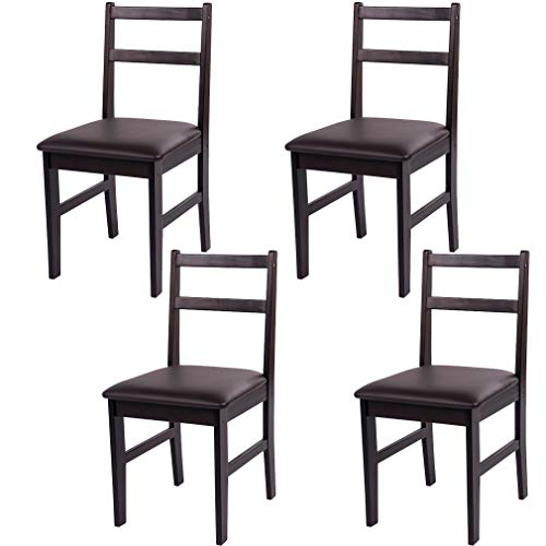 Merax 4pcs Soild Wood Dinnng Chair Contemporary Padded Dinning Room Chair in Dark Espresso Finish, Set of 4