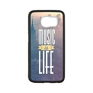 Samsung Galaxy S6 Cell Phone Case Black_Music Is Life Jhgop