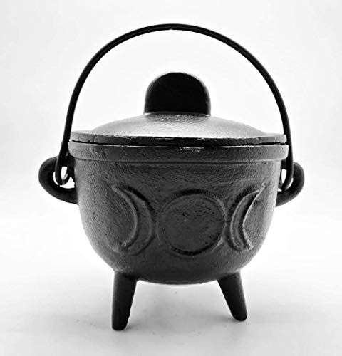 New Age Medium Triple Moon Cast Iron Cauldron -