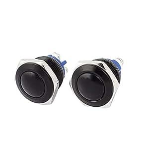 2pcs 16 mm galvanizado momentánea pulsador cabeza de la bola del interruptor Negro