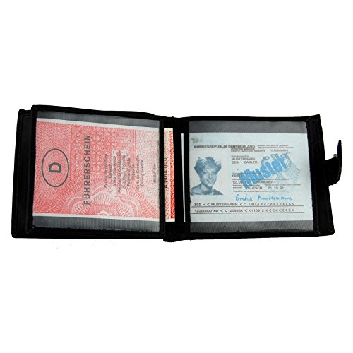 NB24 Versand Herren Geldbörse (1111), peseta, Echtes Leder, schwarz