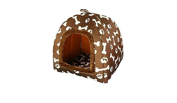 JEELINBORE Estampado Casa para Mascota Plegable Suave Caseta Cama para Perro o Gato (47 * 47 * 45cm, Marrón): Amazon.es: Hogar