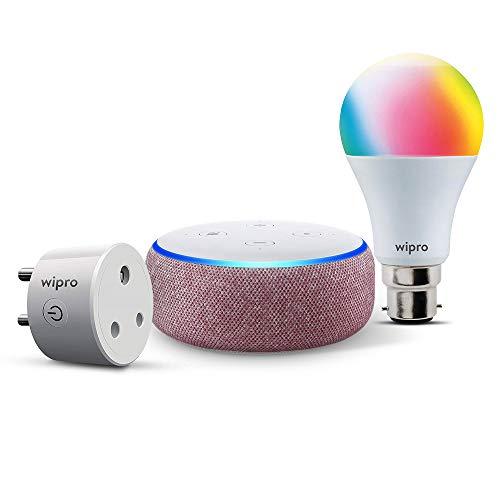 Basic smart bundle: 1 Echo Dot (Purple) + 1 Wipro 9W color bulb (pin type socket) + 1 Wipro 6A smart plug (for small appliances)