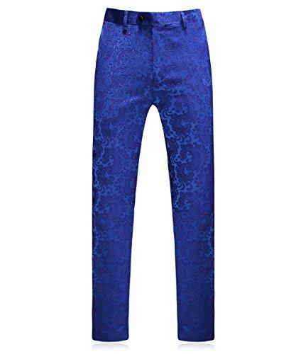 MOGU Classic Floral Jacquard blu uomo abiti di lusso 3 pezzo giacca giacca e pantaloni e gilet