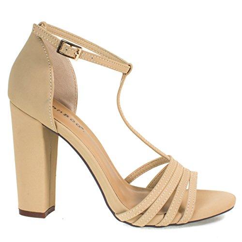 Sandalo Open Toe Dress, Cinturino Alla Caviglia Con Cinturino A T, Grosso Tacco Largo, Scarpe Da Donna Nude