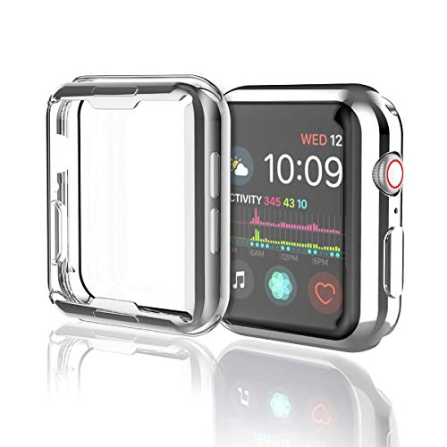 [2 Pack] Misxi Silver Case Compatible with Apple Watch Series 4 Screen Protector 40mm, iwatch Cover TPU Overall Protection 0.3mm Ultra-Thin Case for Apple Watch Series 4 40mm (1 Silver+1 Transparent)