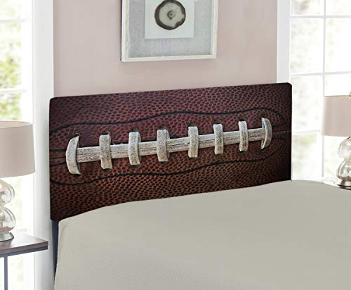 (Lunarable Sports Headboard, American Football Leather Laces Fun Traditional Sport Close up Photo Print, Upholstered Decorative Metal Headboard with Memory Foam, for Twin Size Bed, Dark Brown Beige)