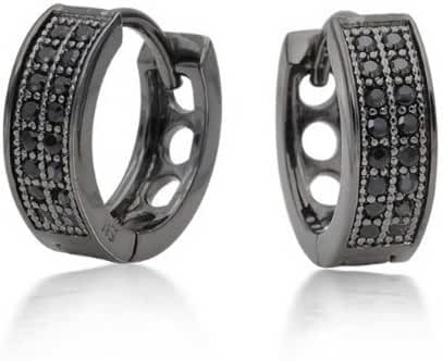 Bling Jewelry 925 Silver Black Micropave CZ Huggie Earrings Rhodium Plated