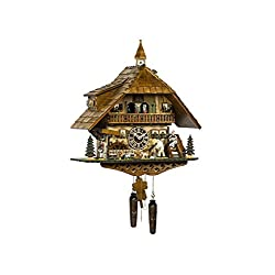 Trenkle Quartz Cuckoo Clock Black Forest House with Moving Wood Chopper and Mill Wheel, with Music TU 4259 QMT HZZG