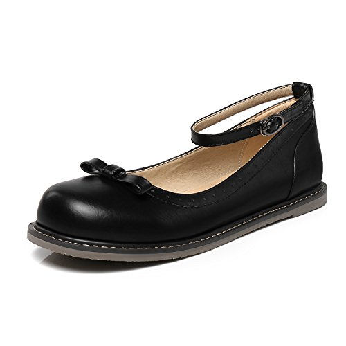 Odetina Scarpe Da Donna Casual In Ecopelle Mary Jane Flats Nero-bowknot