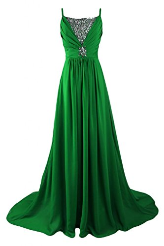 con lungo Prom chiffon Sunvary una Green linea strass abito estivo 7ww1vqx0